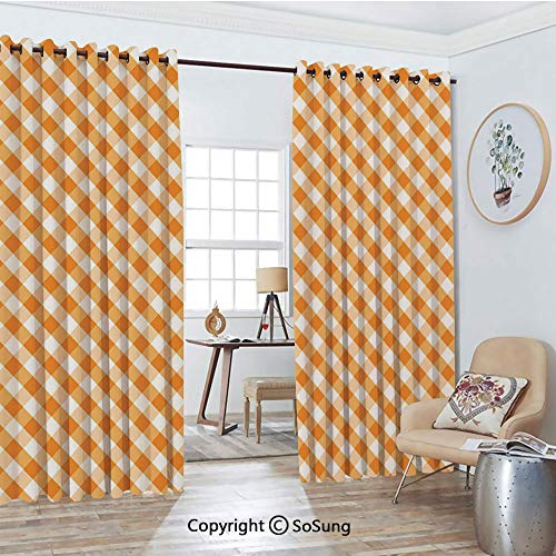 (Thermal Insulated Blackout Patio Door Drapery,Cross Weave Gingham Pattern in Orange and White Old Fashioned Classical Tile Decorative Room Divider Curtains,2 Panel Set,100