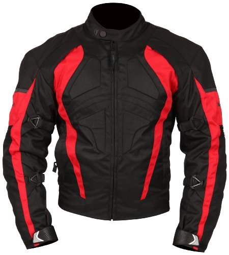 Milano Sport Gamma Motorcycle Jacket with Red Accent (Black, X-Large) by Milano Sport