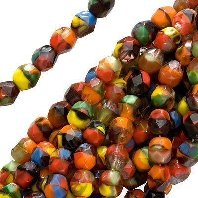 Czech Fire Polish Glass Beads 6mm Round Red Confetti Mix (25)