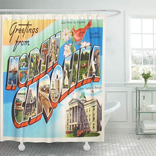 Semtomn Shower Curtain Old North Carolina State Nc Vintage Travel City Greetings 72