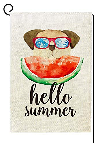 Agantree Art Hello Summer Watermelon Dog Garden Flag Waterproof Double Sided Yard Outdoor Decorative 12 x 18 Inch - Fun Dog Garden Flag