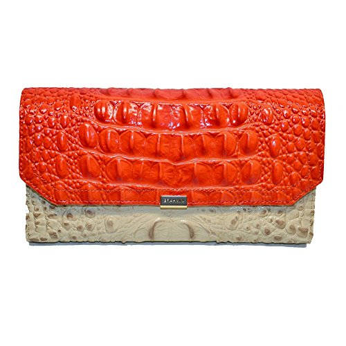 Clutch Collection Croco (Brahmin Soft checkbook wallet Vanilla Toucan Croco Emb Leather)