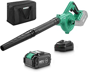 KIMO 20V Cordless Leaf Blower, 2-in-1 Battery Powered Sweep/Vacuum, w/ 4.0Ah Lithium-ion Battery&Charger, 150MPH, Variable Speed, Carrying Bag for Blowing Leaf/Snow/Dust/PC, Vacuuming Yard/Patio/Car