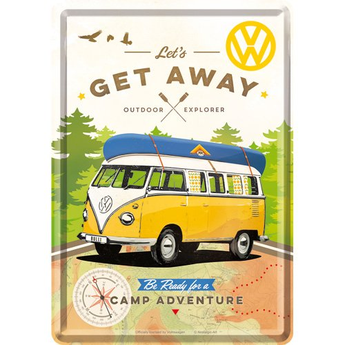 Nostalgic-Art 10293 | Metal Postcard Small Tin Sign 10x14 cm | Volkswagen VW Bulli - Let's Get -
