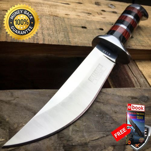 10'' HUNTING STAINLESS STEEL WOOD HANDLE KNIFE Survival Skinning Bowie Camping For Hunting Tactical Camping Cosplay + eBOOK by MOON KNIVES