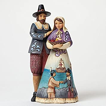 Jim Shore Heartwood Creek Pilgrim Couple with Scene Stone Resin Figurine, 9.25