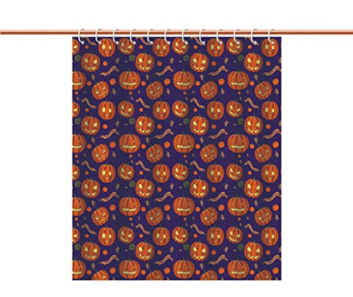 Mildew Resistant Shower Curtain [ Halloween,Pumpkins Pattern Different Face Expressions Happy Angry Scary Puzzled,Orange Indigo Yellow ] Decorative Shower Curtain Ideas