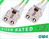 FiberCablesDirect - Green LSZH 2M OM4 LC LC Fiber Patch Cable | 100Gb Duplex 50/125 LC to LC Multimode Jumper 2 Meter (6.56ft) | Backwards Compatible to OM3/OM2 | 10/40/100g mmf lc-lc dx 100gbase sfp+