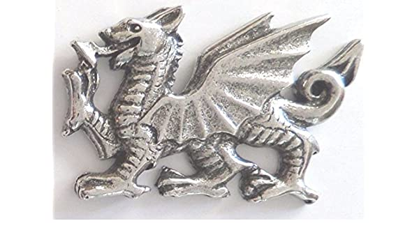 Welsh Dragon Pin Badge Made in Polished English Pewter