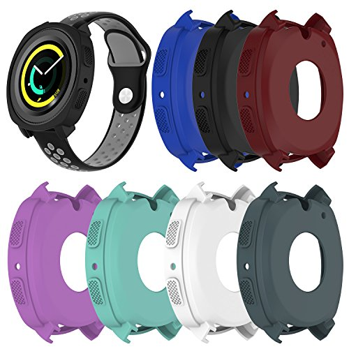 RuenTech For Samsung Gear Sport Case Cover,Soft Silicone Protective Case Frame Shock Resistant Cover Case for Samsung Gear Sport R600 Smartwatch (7-Pack) -