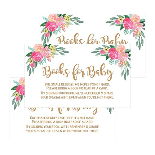 25 Flower Books for Baby Request Insert Card for Girl Gold Floral Baby Shower Invitations Or Invites, Cute Bring A Book Instead of A Card Theme for Gender Reveal Party Story Games, Business Card Size]()