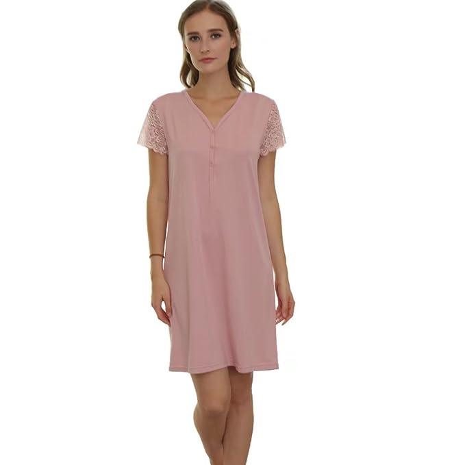 c7efbec85d Ladies Short Sleeve Nightgown Bamboo Fiber Sleepwear Soft Nightdress   Amazon.co.uk  Clothing
