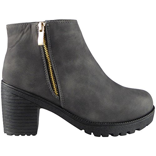 New Ladies Womens Black Low Mid Heel Zip Pull On Chelsea Ankle Boots Shoes 3-8 Grey odaNrkS