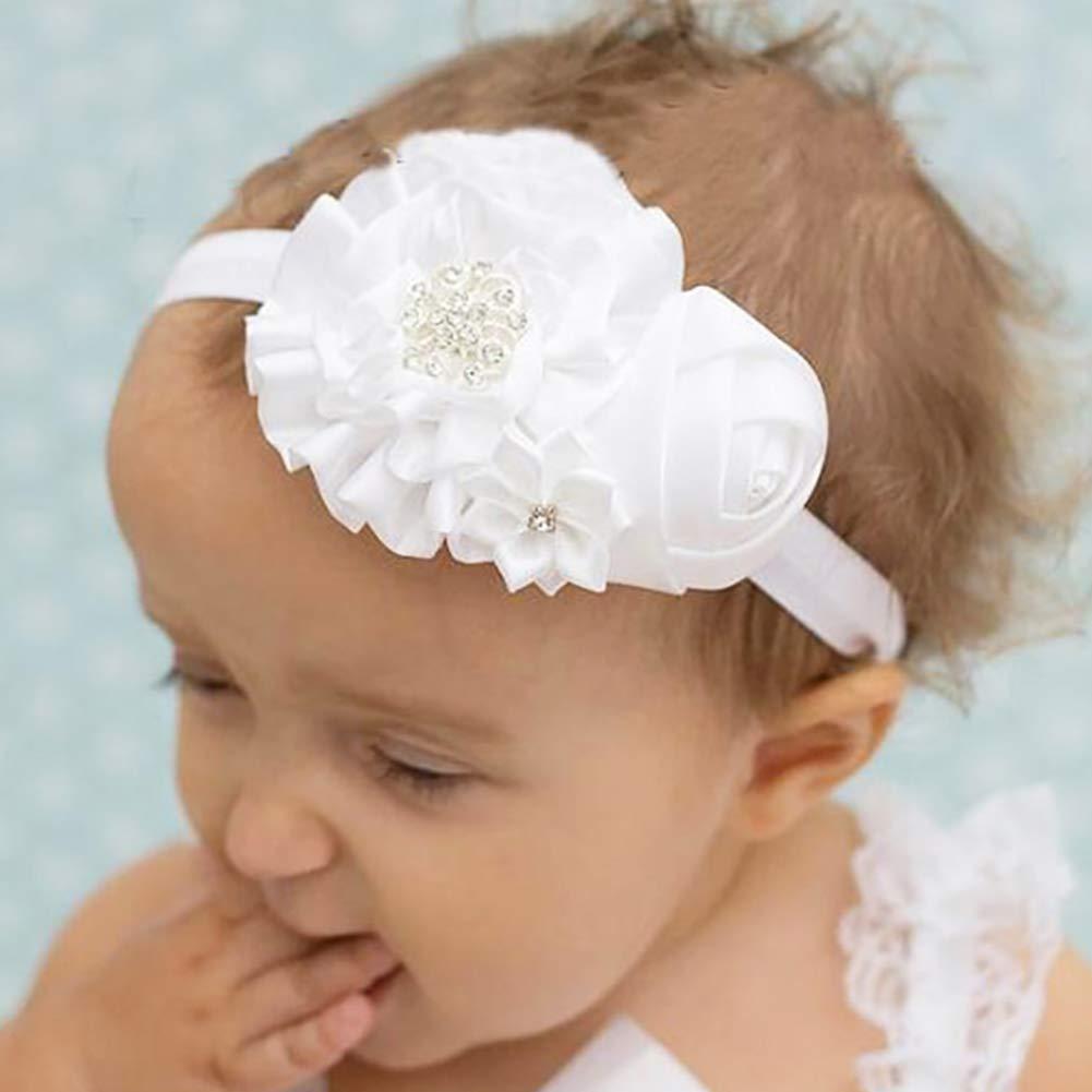 Hilai Baby-Taufe Stirnband-Baby-Taufe Stirnband mit B/ögen Wei/ß