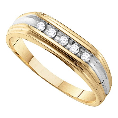 10kt Yellow Gold Mens Round Diamond Single Row Two-tone Wedding Band Ring 1/8 Cttw - 2 Tone Diamond Mens Rings