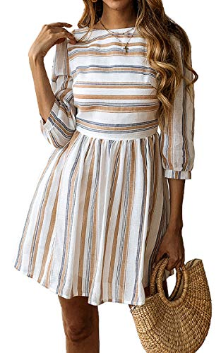 ECOWISH Womens a Line 3/4 Sleeves Striped Dress High Waist Scoop Neck Mini Dress