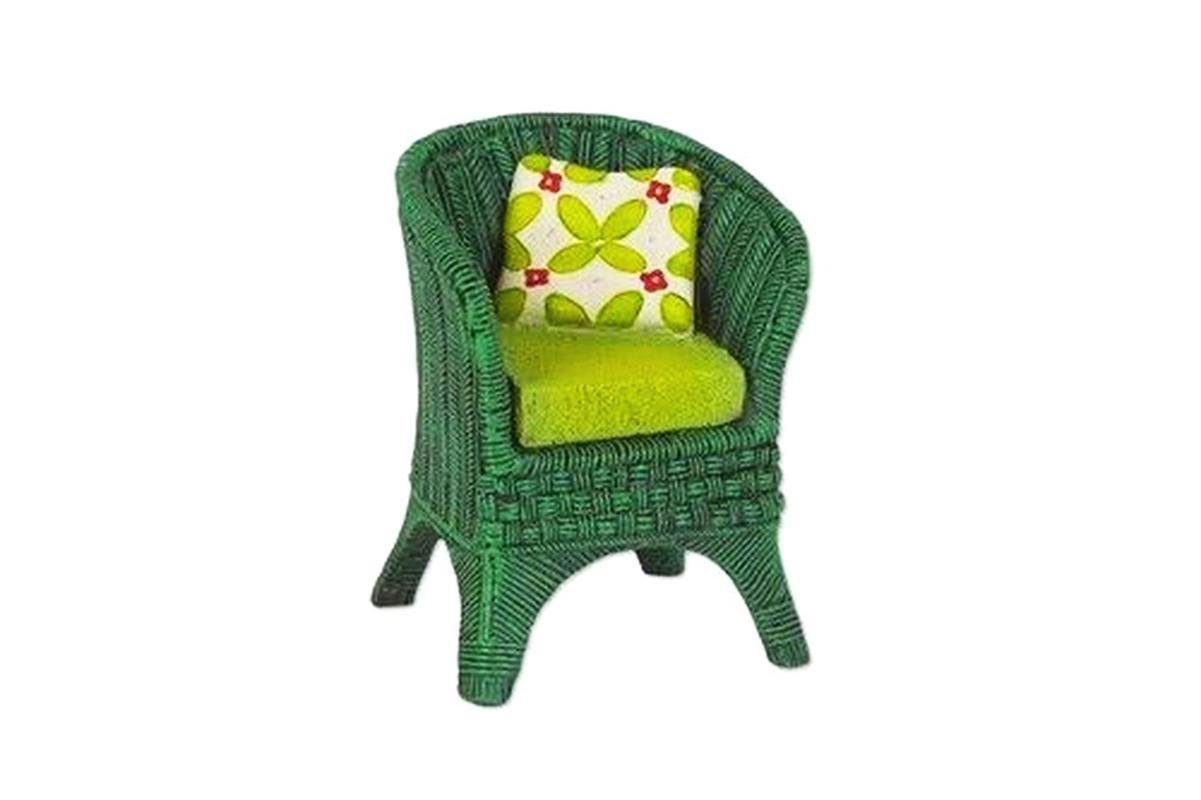 Mary Engelbreit Mini Dollhouse FAIRY GARDEN Accessoriess - Green Wicker Chair - Mini Dollh.