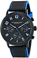 Stuhrling Original Men's 668.02 Monaco Analog Display Multifunction Quartz Black Watch