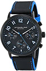 Stuhrling Original Men's 668.02 Monaco Quartz Multifunction Blue Accents Leather Watch