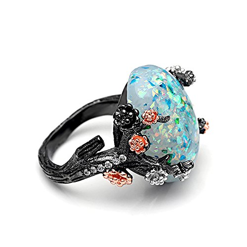 Ginger Lyne Collection Henrietta Elven Tree Branch Setting Oval Green Simulated Fire Opal Ring (9)