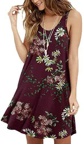 7ddb87a93b6b Viishow Women's Summer Sleeveless Casual Swing Simple T-Shirt Loose Dresses