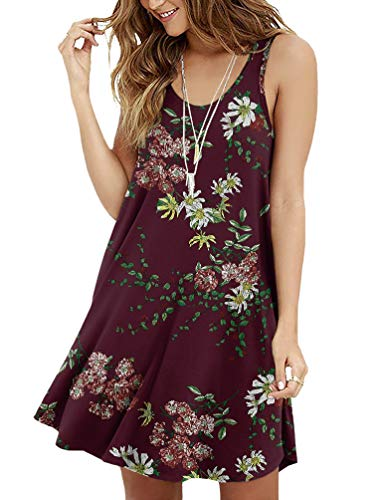 Viishow Women's Summer Casual Sleeveless Floral Printed Swing Dress Sundress(Floral Wine red S)