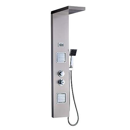 Auralum - Columna de Hidromasaje Termostático Ducha Moderna 3 Función Acero Inoxidable con Pantalla LCD para Baño