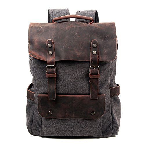 8ed55306493c Galleon - Travel Log City Backpack Genuine Canvas And Leather Bag (Grey)