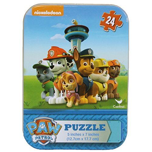 Disney, Nickelodeon, Marvel & More Licensed Character Mini Puzzles in Tins (Paw Patrol-Rocky, Marshall, Chase, Rubble, Zuma and Skye)