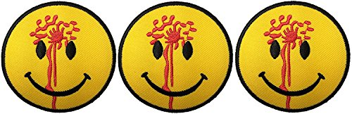 Halloween Bomb Costume Squad (Funny Smiley Smile Happy Yellow Face Blood Head Shot Logo Badge DIY Applique Embroidered Sew Iron on Patch)