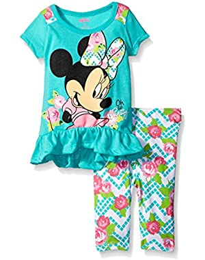 Baby Girls' 2 Piece Minnie Top and Flower Printed Legging