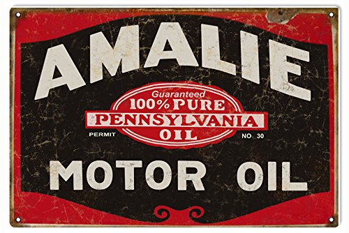 Motor Oil Reproduction - Victory Vintage Signs Red and Black Amalie Motor Oil Reproduction Gas Sign Garage Art