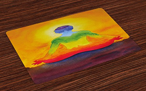 Lunarable Chakra Place Mats Set of 4, Grungy Meditating Human Body Paint Print with Gradient Effects Care Healing Symbol, Washable Fabric Placemats for Dining Room Kitchen Table Decoration, Multicolor