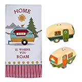 Aintree Exclusives Camping Life Terry Towel with Camper Salt and Pepper Shaker Set - Traveler Getaway Themed Kitchen Accessory Pack by Kay Dee Designs and Beachcombers Coastal Life