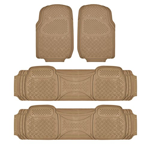 Rubber Mat 4PC Set 3 Rows for Trucks Vans SUVs EZ Trim Snow Mud Protection Beige (Rear Mat Heavyweight Set)