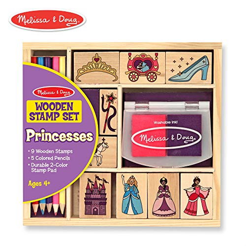 Melissa & Doug Wooden Stamp Set, Princesses (Arts & Crafts, Sturdy Wooden Storage Box, Washable Ink, 15 Pieces)