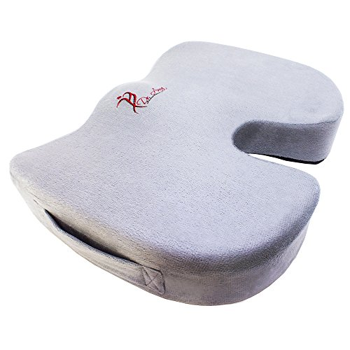 Dr. Anna Luxury Seat Cushion Made From 100% Pure Memory Foam. Best Coccyx-Tailbone Orthopedic Support for Office Chair, Car/Truck Seat for Back Soreness and Sciatica Relief.