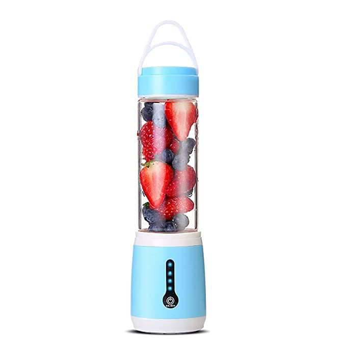 QSBY Personal Blender Portable Juicer Blue Cup Electric Fruit Mixer USB Juice Blender Rechargeable 600ml Six Blades in 3D for Superb Mixing