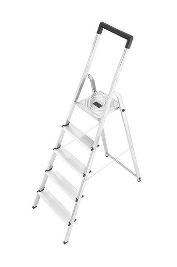 Neu Hailo 8945-001 Alu-Sicherheits-Haushaltsleiter L40 - 5 Stufen mit  AX95