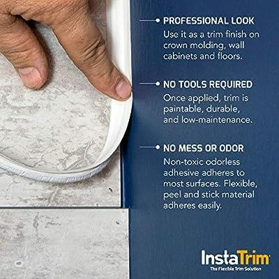 InstaTrim, Flexible, Self-Adhesive Caulk and Trim Solution - Cover Gaps Around Walls, Ceilings, Baseboards, Floors, Countertop, Backsplash, Toilets, and More