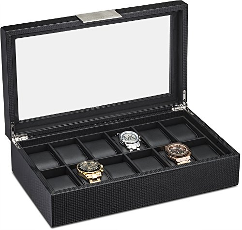 Watch Box for Men - 12 Slot Luxury Carbon Fiber Design Display Case, Large Holder, Metal Buckle