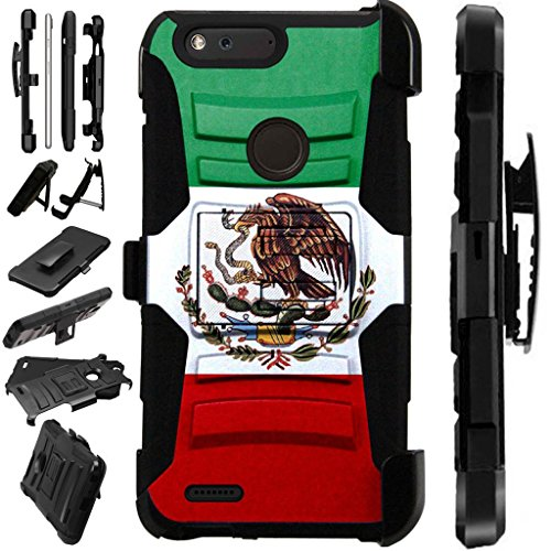 Mexican Pedestal ([World Acc] For ZTE Blade Z Max (MetroPCS) Case / ZTE ZMax Pro 2 / ZTE Grand X Max 4 / ZTE Sequoia Case Armor Hybrid Silicone Cover Stand LuxGuard Holster (Flag of Mexican Eagle))