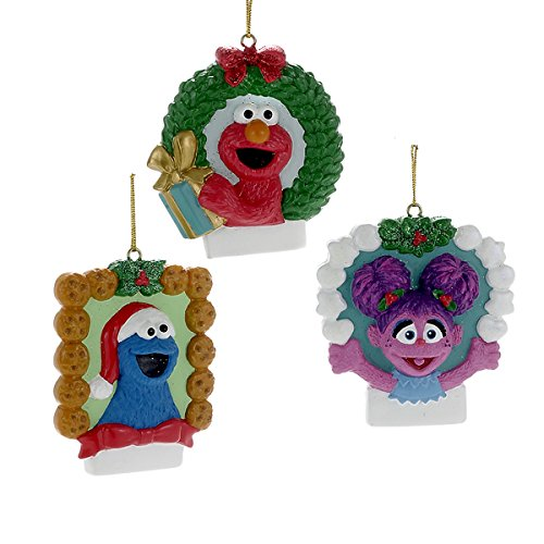 Kurt Adler Resin For Personalization Sesame Street Elmo, Cookie Monster And Abby Resin 1 Set 3 Assorted Christmas Ornaments]()