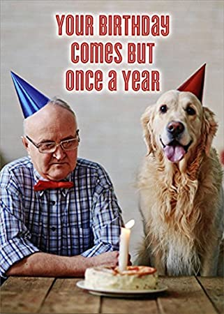 Outstanding Amazon Com Man And Dog With Birthday Cake Oatmeal Studios Personalised Birthday Cards Cominlily Jamesorg