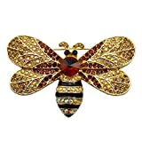 SELOVO Gold Tone Big Honeybee Pin Brooch Brown Austrian Crystal