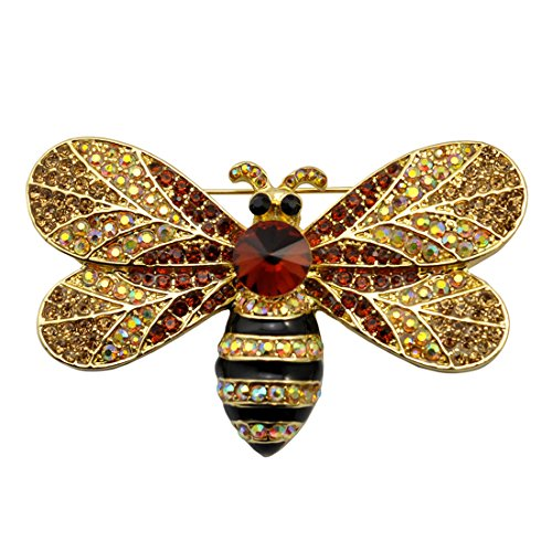 SELOVO Gold Tone Big Honeybee Pin Brooch Brown Austrian (Couple Custumes)