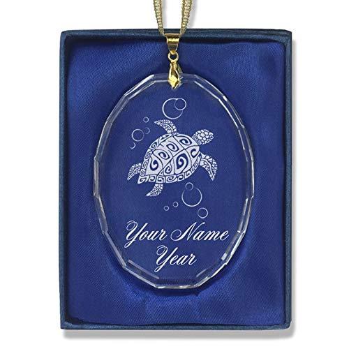 LaserGram Christmas Ornament, Hawaiian Sea Turtle, Personalized Engraving Included (Oval Shape) (Ornament Personalized Oval Christmas)