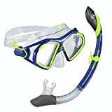 U.S. Divers Admiral 2 Lx / Island Dry Adult Silicone Mask Combo (Electric Blue)