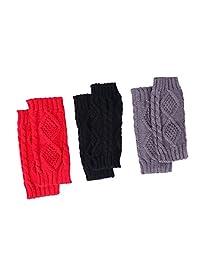 HDE 3 Pack Fingerless Gloves Women's Crochet Cable Knit Wrist, Hand, Arm Warmers