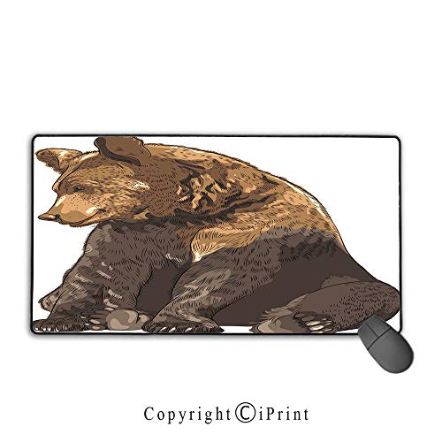 - Extended gaming mouse pad with stitched edges,Bear,Big and Cute Mammal Sitting Smiling Wildlife Beast Nature Inspired Cartoon Mascot Decorative,Taupe Brown,Suitable for laptops, computers, PCs, keyboa